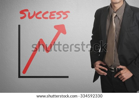 business man and success graph chart on wall for