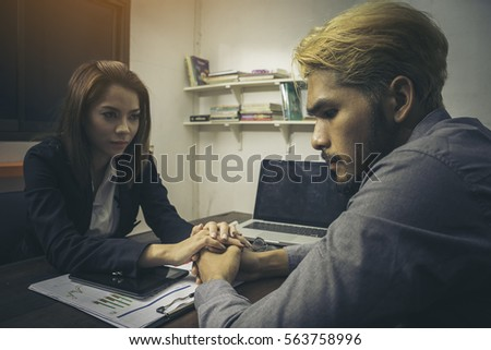 Business Man Woman Hand Touching Holding Stock Photo 563758996