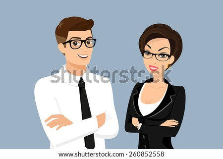 Business man and woman isolated on blue background - stock photo