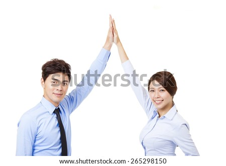 business man and woman joining hands and cooperation concept - stock photo
