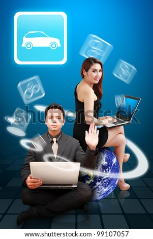 Business man and woman present the Car icon from earth : Elements of this image furnished by NASA