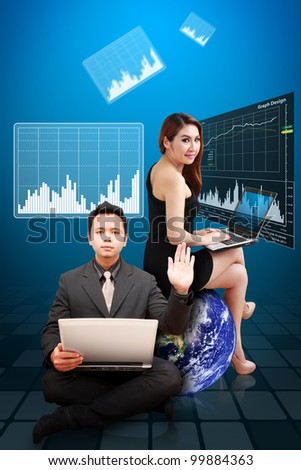 Business man and woman present the stock exchange graph report : Elements of this image furnished by NASA