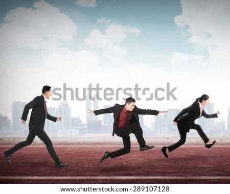 Business man and woman running for career. Business career conceptual - stock photo