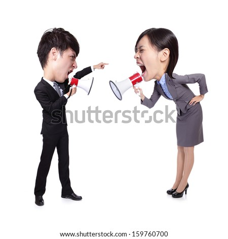 business Man and woman shouting to each other through megaphone isolated on white background, asian big head people - stock photo