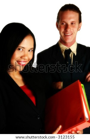 Business man and woman together smiling.  Focus on woman.