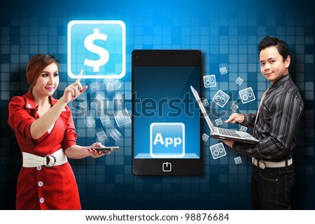 Business man and woman touch the money icon from mobile phone - stock photo