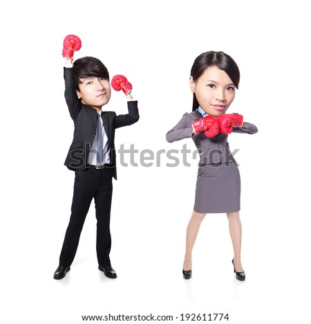 Business man and woman win pose with boxing gloves in full length isolated on white background, asian, big head - stock photo