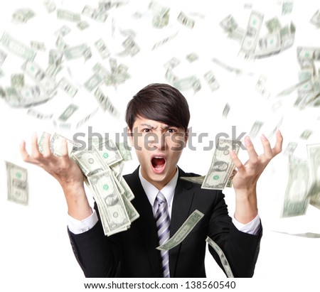 business man anger shouting with money falling rain isolated on white background, asian model - stock photo