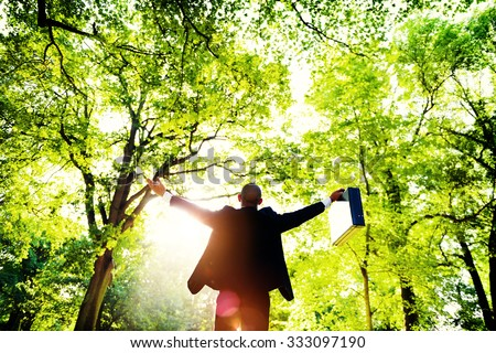 Business Man Arms Outstretched Forest Green Concept - stock photo