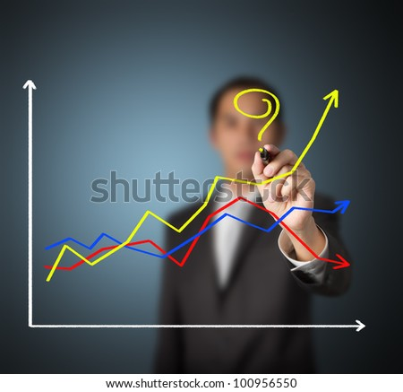 business man asking question - How to make the different success ?  by writing question mark on highest growth financial graph - stock photo