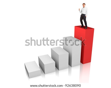 Business man at the top of a rising bar chart - success or motivation concept - stock photo