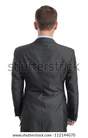 business man back view. Isolated on white