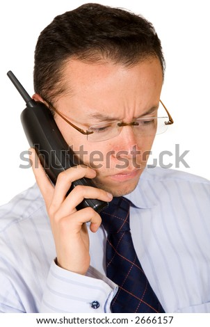 business man - bad news on the phone over a white background