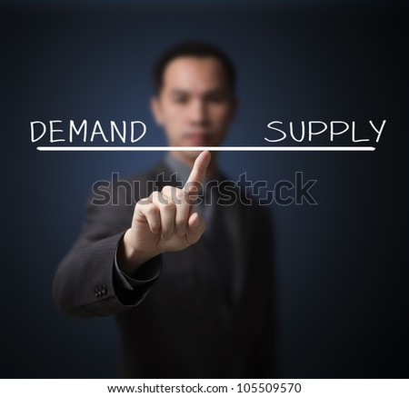 business man balance demand and supply on finger tip - stock photo