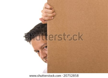 Business man behind a blank cardboard with space for text