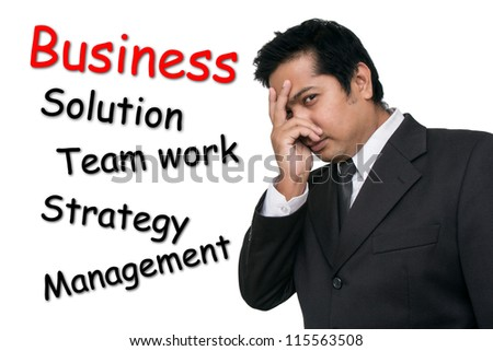 Business man building for success - stock photo