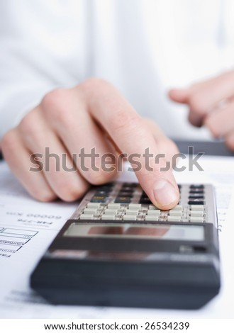 business man calculating