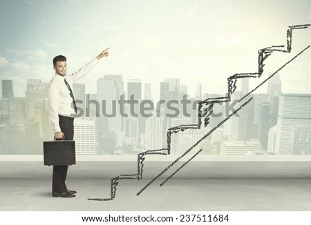 Business man climbing up on hand drawn staircase concept on city background - stock photo