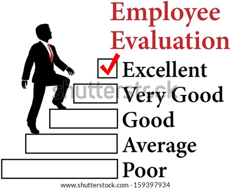 Business man climbs up Employee Evaluation form to improvement - stock photo