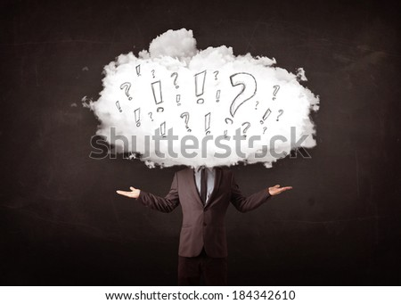 Business man cloud head with question and exclamation marks concept - stock photo