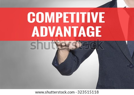 Business man Competitive Advantage word touching on red tab virtual screen for business concept - stock photo