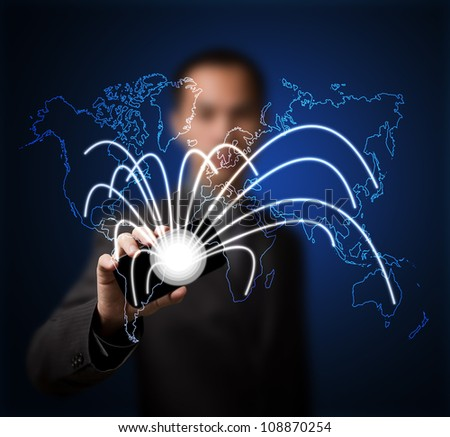 business man connect internet network world by smart phone usage - stock photo