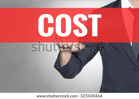 Business man Cost word touching on red tab virtual screen for business concept - stock photo