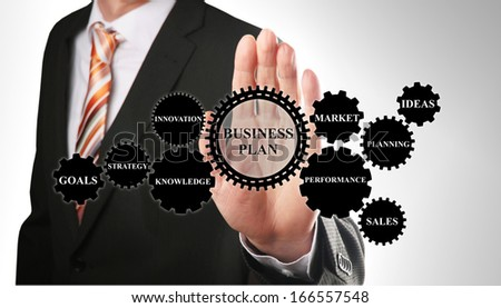 business man demonstrates the concept for the creation of a business plan based on gear wheels - stock photo