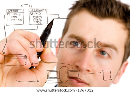 business man designing a database plan on a screen - stock photo
