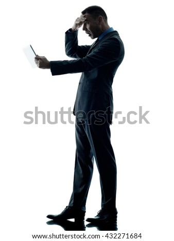 business man digital tablet surprised isolated