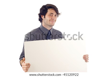Business man displaying a banner ad isolated over a white background