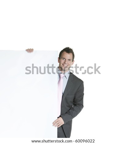 business man displaying a banner add isolated over a white background