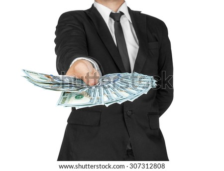 Business Man Displaying a Spread of Cash over a white  background