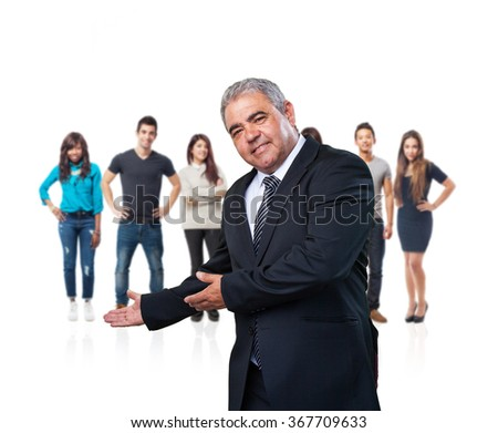 business man doing a welcome gesture