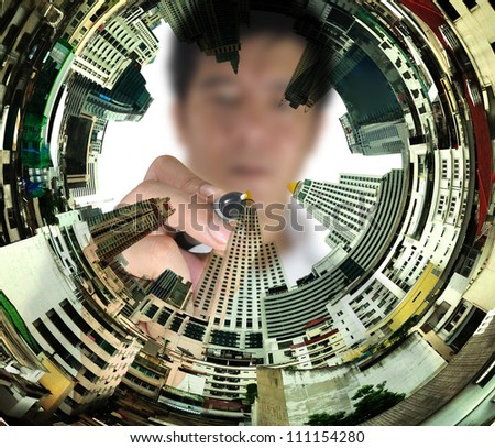 Business man draw cityscape - stock photo