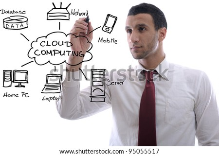 business man draw cloud computing chart on glass  isolated over  white background  in studio - stock photo