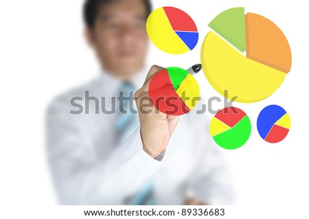 Business man draw pie graph on touch screen - stock photo