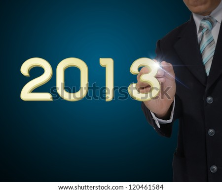 Business Man draw the year 2013 - stock photo
