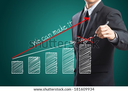Business man drawing a growth chart, Success in business concept - stock photo