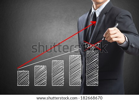 Business man drawing a growth chart, Success in business concept