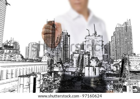 Business Man Drawing building and seascape - stock photo