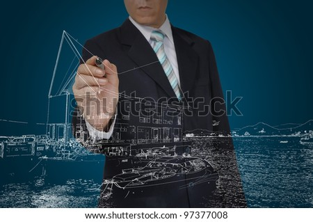 Business Man Drawing building and seascape