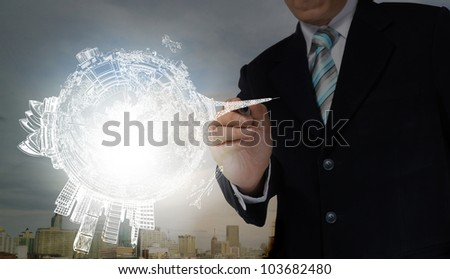 Business Man drawing earth globe
