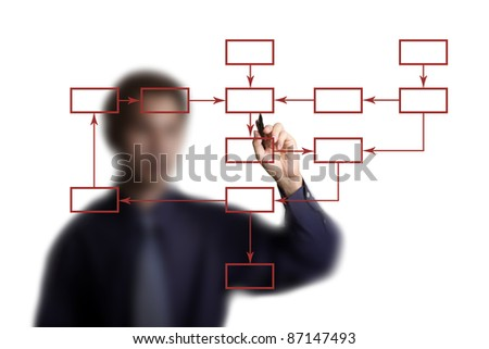 business man drawing flowchart diagram