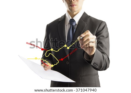 business man drawing graphic  on transparency screen - stock photo