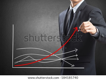 Business man drawing growth chart, Difference concept - stock photo