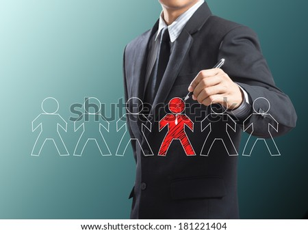 Business man drawing leadership concept, Think different - stock photo