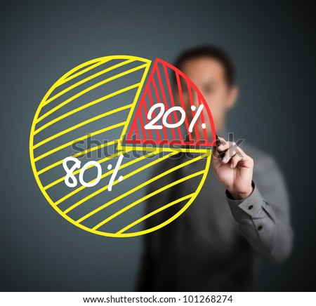 business man drawing 80 - 20 percent pie chart - stock photo