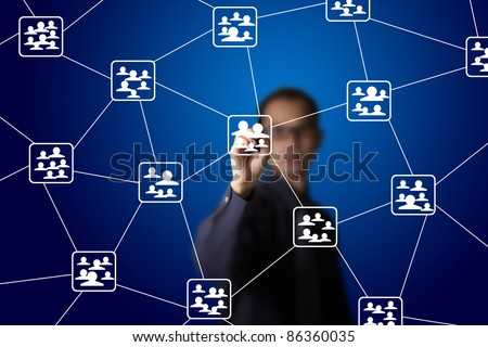 business man drawing social network connection - stock photo