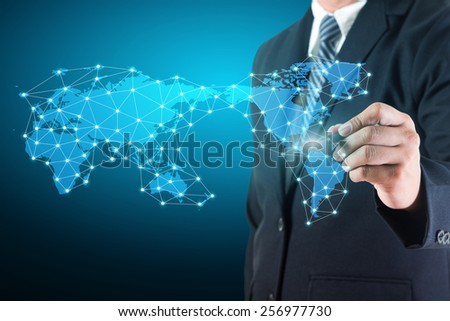 Business man drawing social network connection data diagram with world map on white board - stock photo
